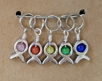 5 Small Fish and Cats Eye Stitch Markers with 7.9mm Rings