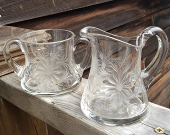 Vintage Cut Glass Sugar Bowl and Creamer Set