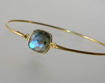 Labradorite Gemstone Bangle Bracelet, Grey Bangle, Gemstone Bangle, Gold Bracelet (Gm293G)