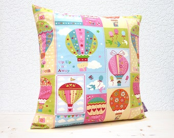 "Handmade 16""x16"" Childrens Cotton Cushion Pillow Cover in Cream/Blue/Green/Pink/Turquoise Colourful/Patterned Air Balloons Design Print"