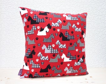 """Handmade 16""""x16"""" Cotton Cushion Pillow Cover Great Scotts Scottie Dogs Black/White/Grey on Red Houndstooth Design Print"""