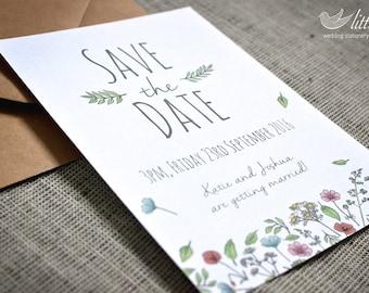 Littlebird - Wildflower wedding save the date cards x25 (A6 card)