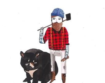 A6 Lumberjack and Bear Postcard