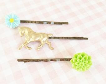 Horse Bobby Pin, Pony Hairpin,  Green Flower Hair Pin, Light Blue Flower Bobby Pin, Golden Brass Horse Bobby Pin