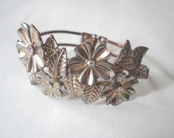 Vintage Bracelet, Clamper Bracelet, Gold Cuff, Costume Jewelry, Flower Bracelet, Vintage Gold Bracelet, Floral Clamper, Rhinestone Bracelet