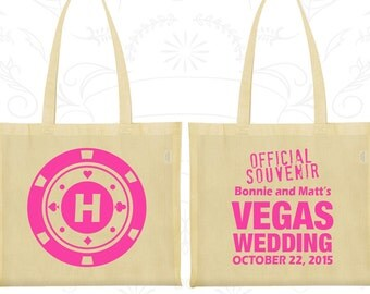 Las Vegas Bags, Promotional Tote, Official Souvenir Vegas Wedding, Monogram Poker Chip, Custom Tote Bags (67)