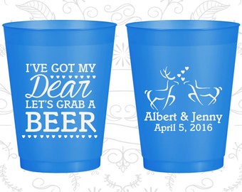 I got my Dear, Lets Grab a Beer, Custom Shatterproof Cups, Hunting Wedding, Southern Wedding, Blue Frosted Cups (372)