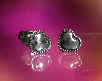 925 Solid Sterling Silver HEART Earrings- Small- Oxidized- Studs