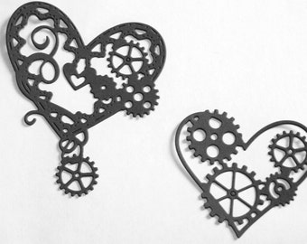 25 Steampunk hearts with gears, table confetti, embellishments