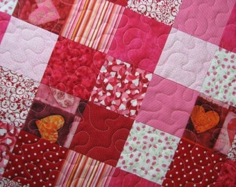 Valentine Quilted Table Topper, Pink and Red Octagon Table Mat, Scrappy Patchwork Table Topper, Quiltsy Handmade