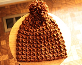 MOSS BEANIE in Mahogany / Crochet Textured Beanie with Pompom / Winter Hats
