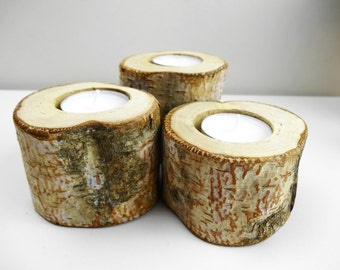 Birch Candle Holders, Candle Holders, Wood Candle Holders, Seasonal, Wedding Candle Holders, Nature Decor, Rustic Caandle Holders