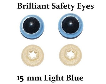 15mm Safety Eyes Light Blue Brilliant with Round Pupil (One Pair)