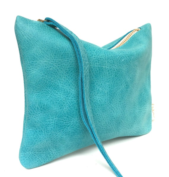 Leather pouch turquoise, leather purse, small leather bag