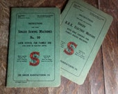 Two original vintage Singer sewing machine manuals.  Singer sewing machine No.99 and Singer B.B.K.electric Motors.