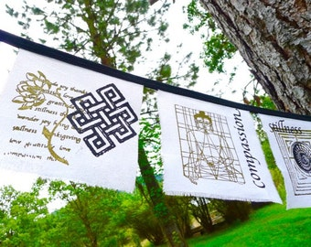Yoga Prayer Flags- White silk 6x6 inch - 6 flag banner