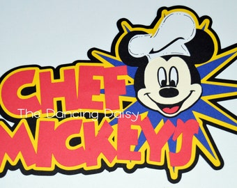 Disney die cut, Disney Scrapbooking, Disney character dining, Chef Mickey's Disney World  paper piecing die cut for scrapbook title
