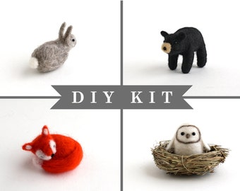 DIY Kit - Needle Felting Kit - Needle Felted Miniature Animal Kit - Gift Craft Kit