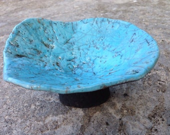 Turquoise blue and black coral raku decorative bowl