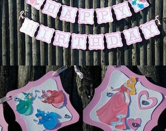 Princess Aurora Banner,sleeping beauty Birthday Banner, Princess Aurora Happy Birthday Banner,Princess Party,sleeping beauty Decorations
