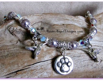 Paw Print with Hummingbird Bracelet, pet loss comfort jewelry, dog and birds jewelry, dog paw print sympathy gifts, paw print bracelets