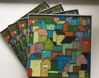 """Coasters Decoupage Glass """"Houses"""""""
