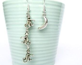 Monkey earrings - Mismatched earrings - Banana earrings - Charm earrings - Animal earrings - Animal jewellery - Novelty earrings - UK