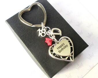 Personalized 18th Birthday keychain - Personalised 18th keychain - Happy Birthday gift - Sister - Friend - Uk
