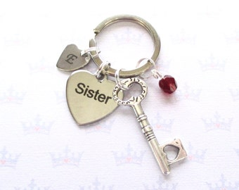 Personalised sister keyring - Heart key - Gift for sister - Birthstone keychain - Sister keychain - Custom sister gift - Initial keychain