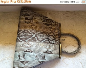 ON SALE antique small green exotic skin handbag, clutch, Art decò, 1920,1930, original vintage