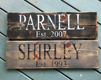 Last Name Sign/Wedding/Established Date/Family Established Sign/Personalized sign/Reclaimed Wood/Reporposed Wood/Christmas Gifts/Gifts