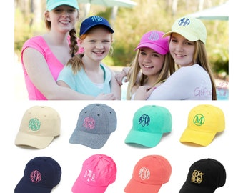 Monogrammed Girls Hat Baseball Cap Beach Sports Name Monogrammed Embroidered Pink Yellow White Black Navy Blue Coral Mint Green