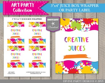 "INSTANT DOWNLOAD Art Birthday Party Printable 3""x4"" Creative Juices Juice Box Wrappers or Party Labels / Art Painting / Item #2802"