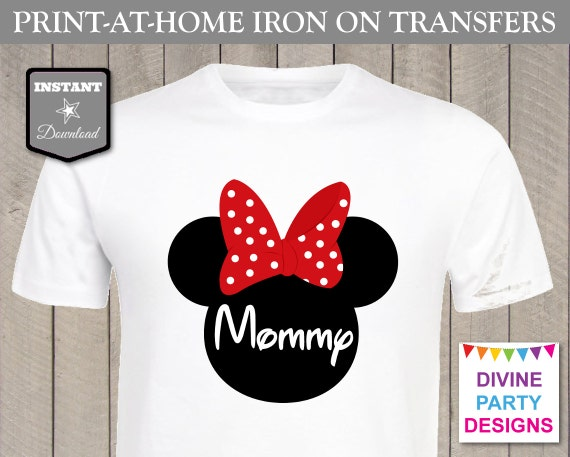 free t shirt transfer templates - instant download print at home red girl mouse mommy