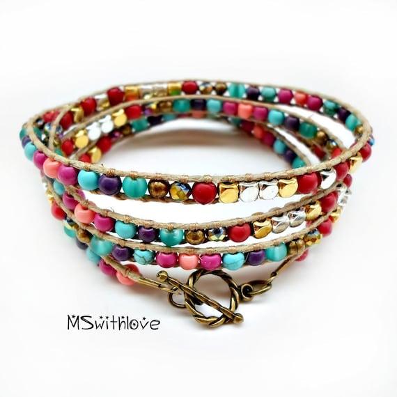 bohemian wrap bracelet colorful wrap bracelet handmade