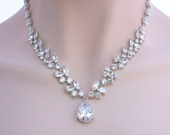 London - Bridal Necklace, Wedding Necklace, Bridal Jewelry, Cubic Zirconia Crystal Necklace, CZ Earrings, Crystal Bridal Jewelry