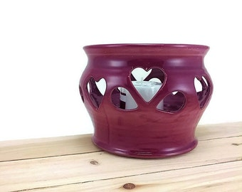 pottery candle holder ceramic luminary candle lantern table lighting lumineria home decor ready to ship