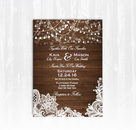 Vintage Lace Wedding Invitation DIY PRINTABLE Digital File Or
