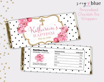 Peony Baptism Chocolate Bar Wrapper - Pink Gold Floral Christening Favor Candy Bar Wrap - First Communion - first birthday - Digital File