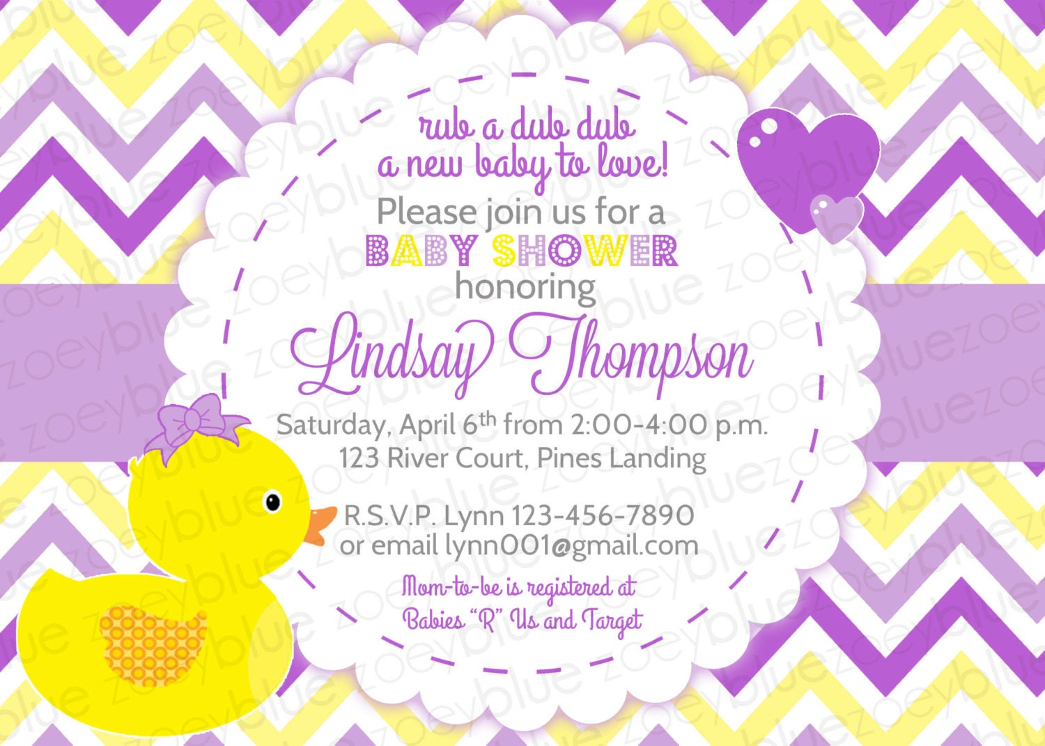 Snap Rubber Ducky Twins Baby Shower Invitation Boy Girl Bow Bowtie ...