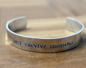 Just Survive Somehow Bracelet / The Walking Dead Inspired Bracelet / JSS / Survival Jewelry / Zombie Jewelry /  Inspirational Bracelet