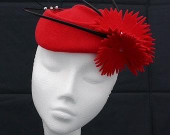 Furfelt red cocktail pillbox hat - handcrafted headpice, handblocked millinery perfect for any occasion