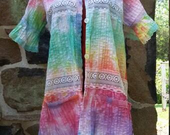 VTG Pastel Lace Button Down Blouse