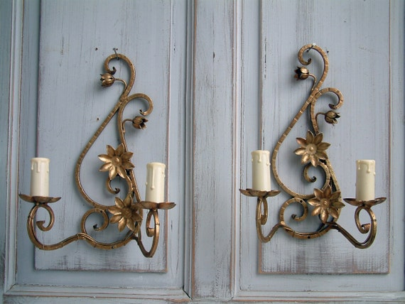 French Iron Wall Sconces : Set of 2 French vintage cast iron wall sconces. Gold wall