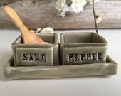 Salt & Pepper Pinch Bowl Set with spoon