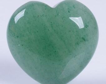 "g3889 x2 2pcs of  Aventurine puff LOVE hearts Crystal healing Reiki pocket stone 0.8"""