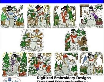 Embroidery Design CD - Snowman (3) - 10 Designs - 9 Formats - Threadart