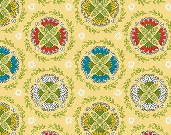 Riley Blake Dutch Treat by Betz White C5282 Wreath Yellow - Quilts - Quilting - Dresses - Crafts