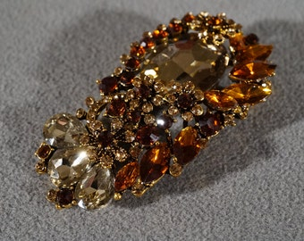 Vintage Art Deco Style Yellow Gold Tone Rhinestone Glass Stone Floral Design Pin Brooch Jewelry     K#55