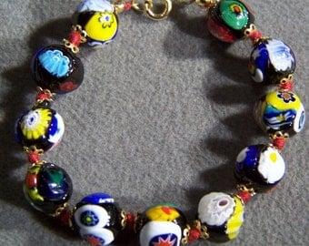 Vintage Art Deco Style Italian Venetian Millefiori Art Glass Bold Bead Bracelet Jewelry **RL
